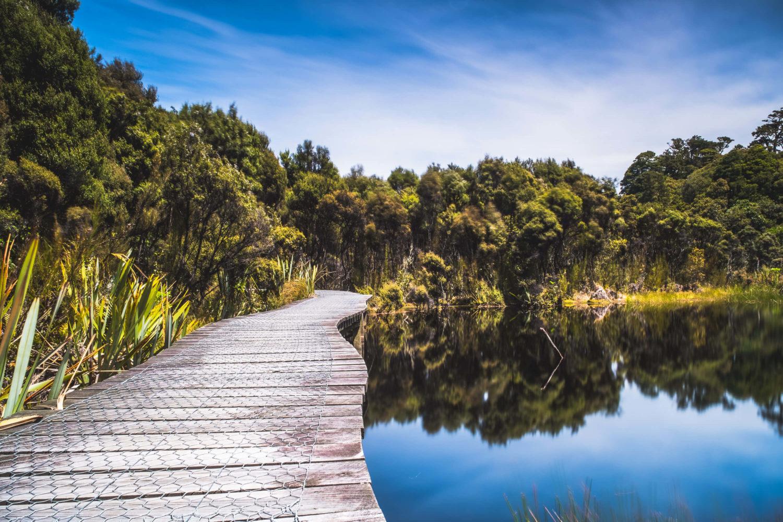 Holzsteg entlang des Lake Wilkie