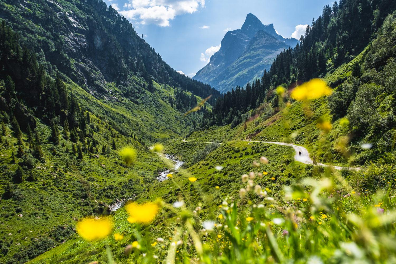 Wanderweg im Verwall neben einem Fluss mit Bergen im Hintergrund